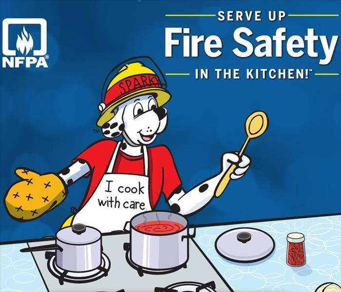 Fire Awareness month advertisement showing dog in the kitchen